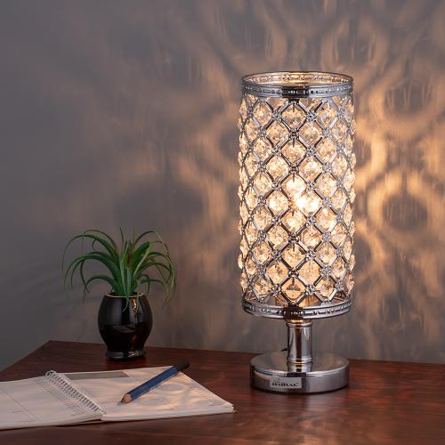 Haitral Crystal Table Lamp Silver Bedside Desk Lamp With