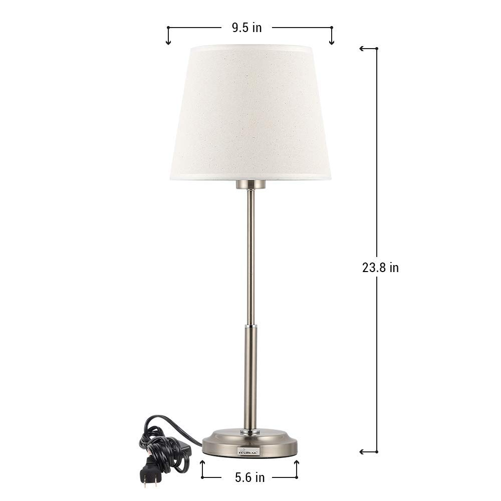 Haitral Modern Table Lamps Set Of 2 Brushed Nickel