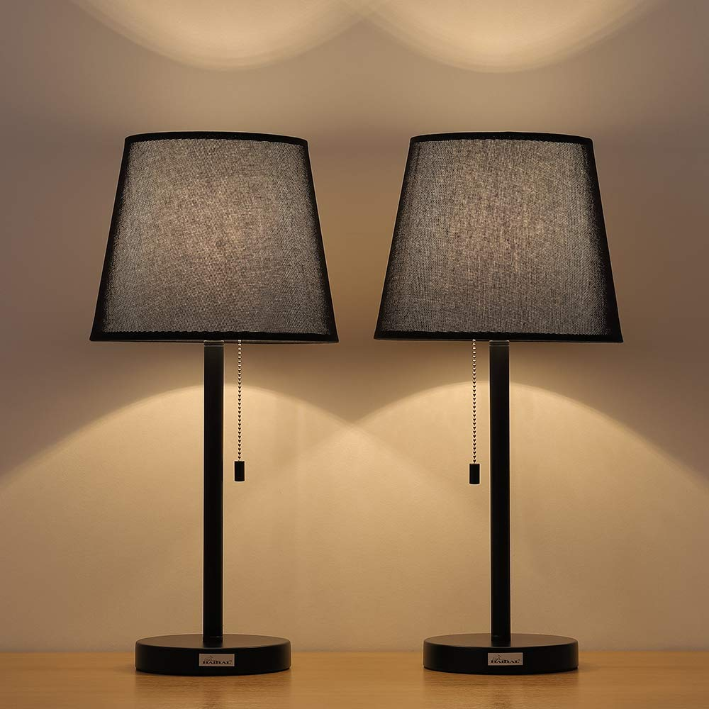 Haitral Black Bedside Table Lamps Set Of 2 Night Stand