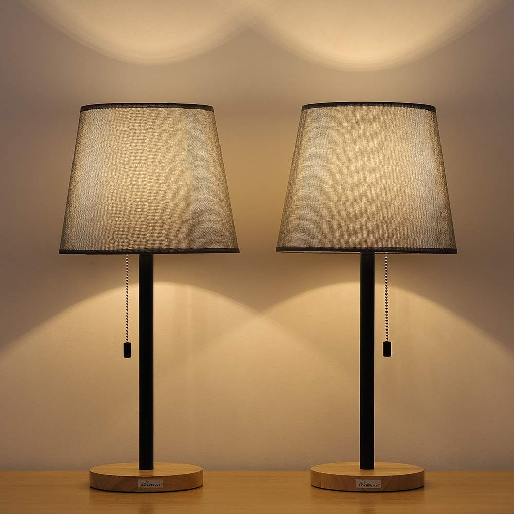 Haitral Set Of 2 Wooden Table Lamps Modern Bedside Lamps